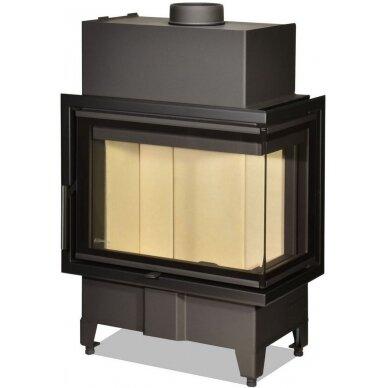 Židinio ugniakuras kampinis HR2SY23 60... dviejų dalių dešinės pusės stiklu 44 cm ir atv. durimis, malkinis, 7,4 kW