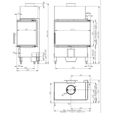 Židinio ugniakuras kampinis HR2SY23 60... dviejų dalių dešinės pusės stiklu 44 cm ir atv. durimis, malkinis, 7,4 kW 3