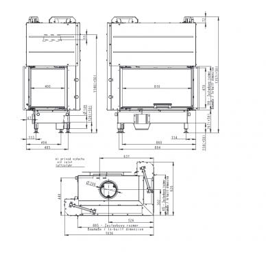 Židinio ugniakuras kampinis HR3LF01 81... vientisu dešinės pusės pakel. stiklu 51 cm, 120 m2, 15,6 kW, malkinis 2