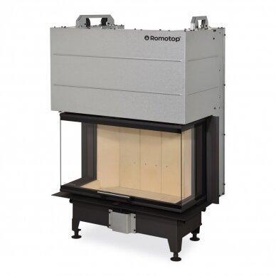 Židinio ugniakuras ROMOTOP trijų stiklų HC3LJ01 80... pakel. durelėmis. Stiklas- vientisas, 80 m², malkinis, 12,9 kW