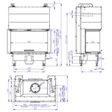 Židinio ugniakuras ROMOTOP trijų stiklų HC3LJ01 80... pakel. durelėmis. Stiklas- vientisas, 80 m², malkinis, 12,9 kW 3