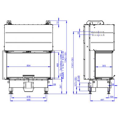 Židinio ugniakuras ROMOTOP trijų stiklų HC3LJ01+K1 80..., pakel. durelėmis. Stiklas- vientisas, su montavimo rėmu, 12,9 kW, malkinis 3